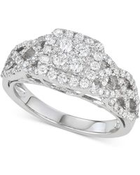 Macy's - Diamond Braided Cluster Engagement Ring (1 Ct. T.w.) In 14k White Gold - Lyst
