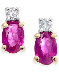 Macy's - Ruby (1-1/5 Ct. T.w.) & Diamond (1/10 Ct. T.w.) Stud Earrings In 14k Gold - Lyst