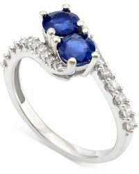 Macy's - Sapphire (1 Ct. T.w.) And Diamond (3/8 Ct. T.w.) Twist Ring In 14k White Gold - Lyst