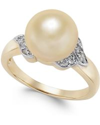 Macy's | Cultured Golden South Sea Pearl (9mm) And Diamond (1/6 Ct. T.w.) Ring In 14k Gold | Lyst