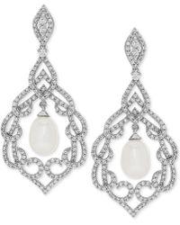 Arabella - Cultured Freshwater Pearl (7mm) & Swarovski Zirconia Orbital Drop Earrings In Sterling Silver - Lyst