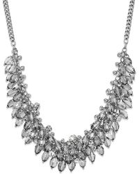ABS By Allen Schwartz - Silver-tone Clear Bead Cluster Frontal Necklace - Lyst