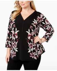 e89d3df2cfed9 Lyst - Alfani Plus Size Printed Mesh Tiered Top in Black