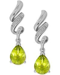 Macy's - Peridot (2-1/2 Ct. T.w.) And Diamond Accent Twist Drop Earrings In Sterling Silver - Lyst