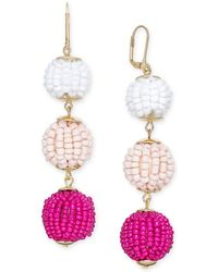 INC International Concepts - I.n.c. Gold-tone Beaded Ball Triple Drop Earrings, Created For Macy's - Lyst