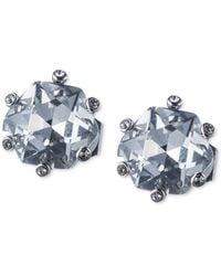Carolee   Silver-tone Large Crystal Clip-on Stud Earrings   Lyst