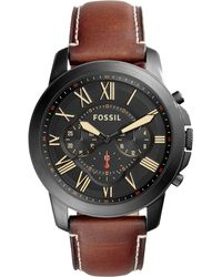 Fossil - Men's Chronograph Grant Light Brown Leather Strap Watch 44mm Fs5241 - Lyst