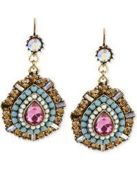 Betsey Johnson - Gold-tone Multi-color Crystal Teardrop Earrings - Lyst
