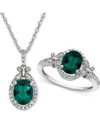 Macy's | Lab Created Emerald (1-3/4 Ct. T.w.) & White Sapphire (3/4 Ct. T.w.) Pendant Necklace & Ring In Sterling Silver | Lyst