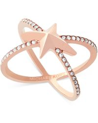 Michael Kors | Rose Gold-tone Pavé Starburst Open Ring | Lyst