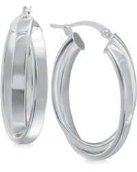 Macy's - Crisscross Angled Hoop Earrings In Sterling Silver - Lyst