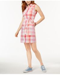 Tommy Hilfiger | Plaid Cotton Shirtdress, Created For Macy's | Lyst