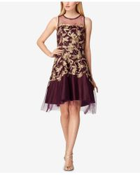 Tahari - Metallic-embroidered Mesh Fit & Flare Dress - Lyst