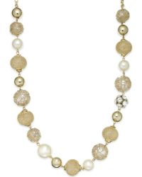 Style & Co. - Style&co. Gold-tone Multi-textured Bead Necklace - Lyst