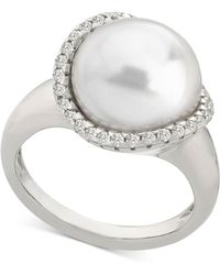 Majorica - Sterling Silver Cubic Zirconia & Imitation Pearl Statement Ring - Lyst