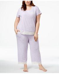 Alfani - Plus Size Lace-trim Pajama Set, Created For Macy's - Lyst