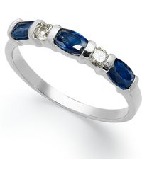 Macy's - 14k White Gold Ring, Sapphire (1 Ct. T.w.) And Diamond (1/8 Ct. T.w.) Ring - Lyst