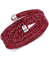 Swarovski - Stainless Steel Crystal Rock Triple-wrapped Bangle Bracelet - Lyst