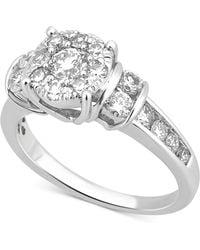 Macy's - Diamond Cluster Channel-set Ring (1-1/4 Ct. T.w.) In 14k White Gold - Lyst