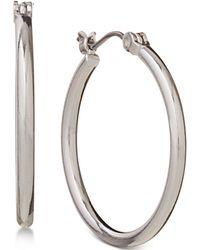 "Nine West - Silver-tone 1"" Small Hoop Earrings - Lyst"