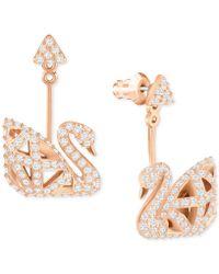 Swarovski - Rose Gold-tone Three Dimensional Pavé Swan Drop Earrings - Lyst