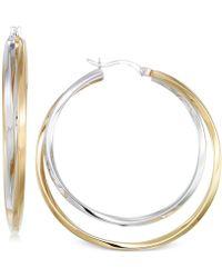 Macy's - Interlocking Hoop Earrings In 14k Gold Vermeil And White Gold Vermeil - Lyst