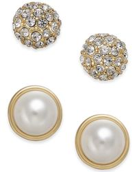 Charter Club - Gold-tone 2-pc. Set Pavé & Imitation Pearl Stud Earrings, Created For Macy's - Lyst