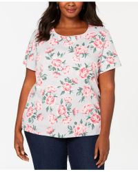 05d2100a964a9 Lyst - Karen Scott Plus Size Cotton Henley T-shirt
