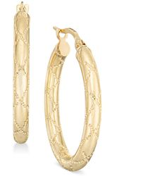 Macy's - Quilted-pattern Tubular Oval Hoop Earrings In 14k Gold - Lyst