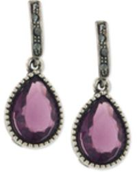 2028 - Hematite-tone Pavé & Purple Stone Drop Earrings - Lyst