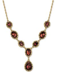 2028 - Gold-tone Burgundy Crystal Lariat Necklace - Lyst