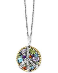 "Effy Collection - Effy® Multi-gemstone (1-1/2 Ct. T.w.) & Diamond (1/6 Ct. T.w.) Peace Sign 18"" Pendant Necklace In Sterling Silver & 18k Gold - Lyst"