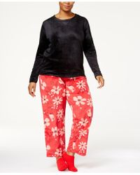 Hue | Plus Size Sueded Fleece Top & Printed Pants With Socks Pajama Set | Lyst