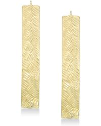 Signature Gold - Tm Diamond Accent Textured Pear-shape Hoop Earrings In 14k Gold Over Resin - Lyst