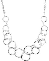 Nine West - Necklace, Silver-tone Circle Frontal Necklace - Lyst