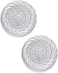 Macy's - Diamond Button Swirl Earrings (1/5 Ct. T.w.) In Sterling Silver - Lyst
