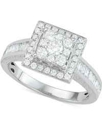 Macy's - Diamond Square Cluster Engagement Ring (1 Ct. T.w.) In 14k White Gold - Lyst