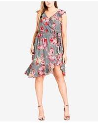 City Chic - Trendy Plus Size Ruffle-trim Faux-wrap Dress - Lyst