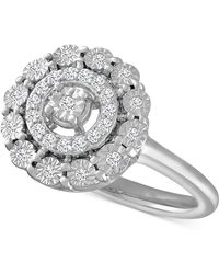 Macy's | Diamond Halo Ring (1/5 Ct. T.w.) In Sterling Silver | Lyst