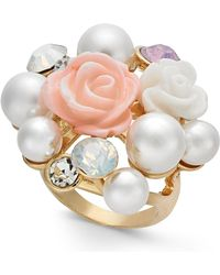 INC International Concepts - I.n.c. Gold-tone Imitation Pearl & Stone Cluster Statement Ring, Created For Macy's - Lyst