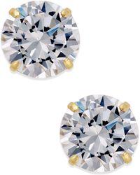 Macy's - Cubic Zirconia Round Stud Earrings In 10k Gold - Lyst