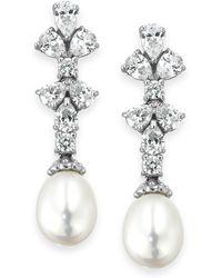 Arabella - Cultured Freshwater Pearl (8mm) And Swarovski Zirconia (1-3/4 Ct. T.w.) Earrings In Sterling Silver - Lyst