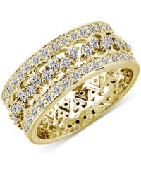 Giani Bernini 2-pc. Set Cubic Zirconia Interlocking Crown Statement Ring In 18k Gold-plated Sterling Silver, Created For Macy's - Metallic