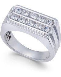 Macy's - Men's Diamond Two-row Ring (1 Ct. T.w.) In 10k White Gold - Lyst
