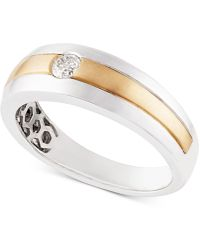 Macy's - Diamond Two-tone Band (1/6 Ct. T.w.) In 10k Gold & White Gold - Lyst