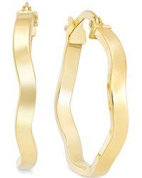 Macy's - Wave Hoop Earrings In 10k Gold - Lyst