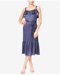 Betsey Johnson - Moon-print Ruffled Midi Dress - Lyst