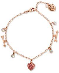 Betsey Johnson | Rose Gold-tone Multi-stone Heart & Arrow Ankle Bracelet | Lyst