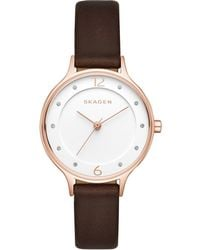 Skagen - Women's Anita Dark Brown Leather Strap Watch 30mm Skw2472 - Lyst