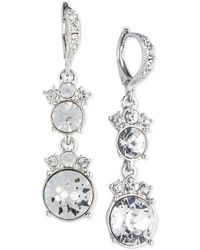 Givenchy - Silver-tone Crystal Double Drop Earrings - Lyst